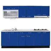 《巨蟹座》一字型廚具W210系統板櫃體/人造石檯面/水晶板門片/藍