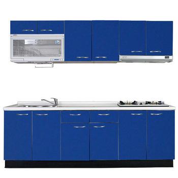 《巨蟹座》一字型廚具W210(系統板櫃體/人造石檯面/水晶板門片/藍)
