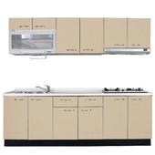 《巨蟹座》一字型廚具W210(系統板櫃體/人造石檯面/水晶板門片/米黃)