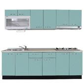 《巨蟹座》一字型廚具W210(系統板櫃體/美耐板檯面/結晶鋼烤門片/荷花白)
