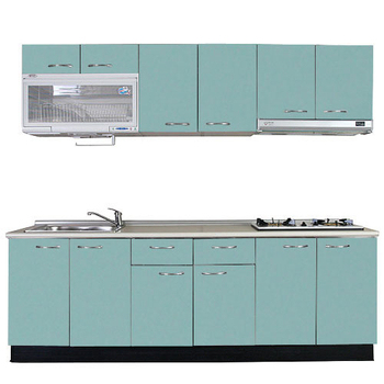 巨蟹座 一字型廚具W210(系統板櫃體/美耐板檯面/結晶鋼烤門片/荷花白)