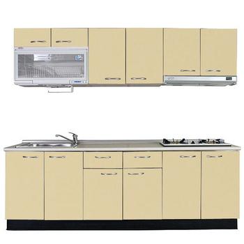 《巨蟹座》一字型廚具W210(系統板櫃體/美耐板檯面/結晶鋼烤門片/起士黃)