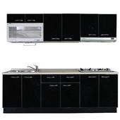 《巨蟹座》一字型廚具W210(系統板櫃體/美耐板檯面/結晶鋼烤門片/神秘黑)