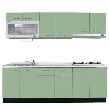 巨蟹座 一字型廚具W240(系統板櫃體/人造石檯面/美耐板門片/綠)