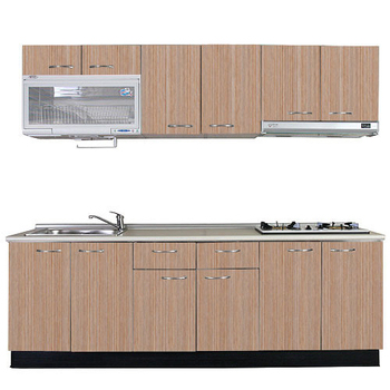 巨蟹座 一字型廚具W240(系統板櫃體/美耐板檯面/系統板門片/銀絲橡)