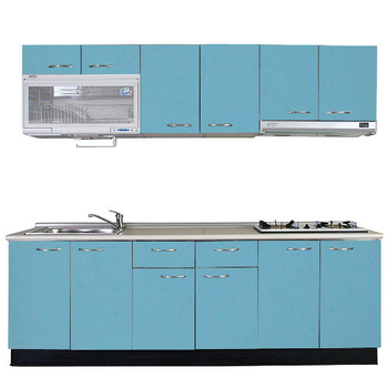 《巨蟹座》一字型廚具W240(系統板櫃體/美耐板檯面/水晶板門片/淺藍)