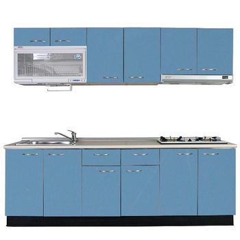 巨蟹座 一字型廚具W240(系統板櫃體/美耐板檯面/結晶鋼烤門片/皎藍)