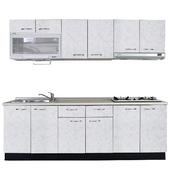 《巨蟹座》一字型廚具W270(系統板櫃體/美耐板檯面/美耐板門片/蝴蝶花白)