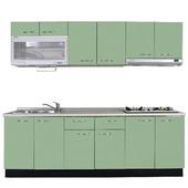 《巨蟹座》一字型廚具W270(系統板櫃體/人造石檯面/美耐板門片/綠)