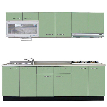 巨蟹座 一字型廚具W270(系統板櫃體/人造石檯面/美耐板門片/綠)