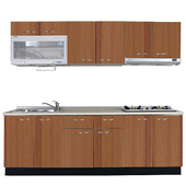 《巨蟹座》一字型廚具W270(系統板櫃體/美耐板檯面/系統板門片/櫻桃木)