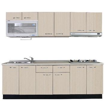 巨蟹座 一字型廚具W270(系統板櫃體/美耐板檯面/系統板門片/白楓)