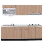 《巨蟹座》一字型廚具W270(系統板櫃體/人造石檯面/系統板門片/銀絲橡)