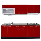 《巨蟹座》一字型廚具W270(系統板櫃體/美耐板檯面/水晶板門片/紅)