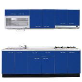 《巨蟹座》一字型廚具W270(系統板櫃體/人造石檯面/水晶板門片/藍)