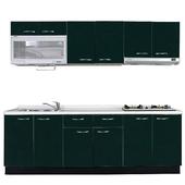 《巨蟹座》一字型廚具W270(系統板櫃體/人造石檯面/水晶板門片/綠)