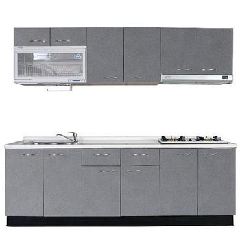《巨蟹座》一字型廚具W270(系統板櫃體/人造石檯面/水晶板門片/灰)