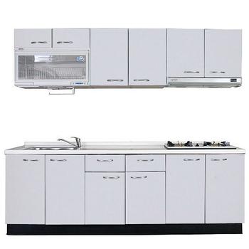 《巨蟹座》一字型廚具W270(系統板櫃體/人造石檯面/水晶板門片/白)
