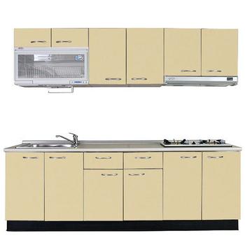 《巨蟹座》一字型廚具W270(系統板櫃體/美耐板檯面/結晶鋼烤門片/起士黃)