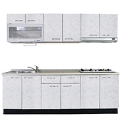 《巨蟹座》一字型廚具W300(W300/系統板櫃體/美耐板檯面/美耐板門片/蝴蝶花白)