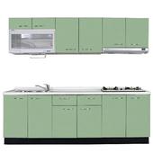 《巨蟹座》一字型廚具W300(系統板櫃體/人造石檯面/美耐板門片/綠)