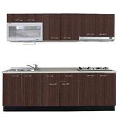 《巨蟹座》一字型廚具W300(系統板櫃體/美耐板檯面/系統板門片/胡桃)