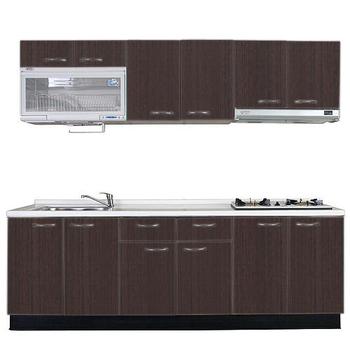 《巨蟹座》一字型廚具W300(系統板櫃體/人造石檯面/系統板門片/鐵刀)