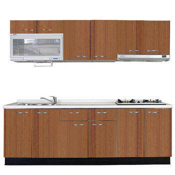 《巨蟹座》一字型廚具W300(系統板櫃體/人造石檯面/系統板門片/櫻桃木)