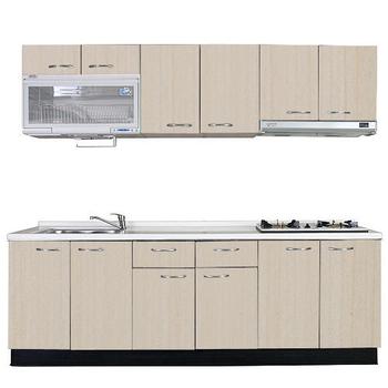 《巨蟹座》一字型廚具W300(系統板櫃體/人造石檯面/系統板門片/白楓)