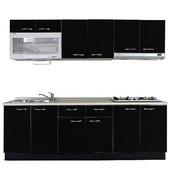 《巨蟹座》一字型廚具W300(系統板櫃體/美耐板檯面/水晶板門片/黑)
