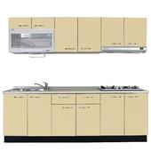《巨蟹座》一字型廚具W300(系統板櫃體/美耐板檯面/結晶鋼烤門片/起士黃)