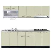 《巨蟹座》一字型廚具W300(系統板櫃體/人造石檯面/結晶鋼烤門片/酪梨)