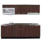 《巨蟹座》一字型廚具W210(系統板櫃體/不鏽鋼檯面/系統板門片/胡桃)