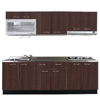 巨蟹座 一字型廚具W210(系統板櫃體/不鏽鋼檯面/系統板門片/胡桃)