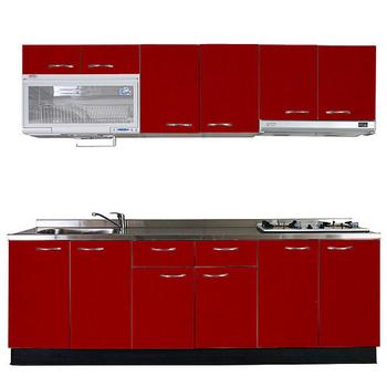 《巨蟹座》一字型廚具W210(系統板櫃體/不鏽鋼檯面/水晶板門片/紅)