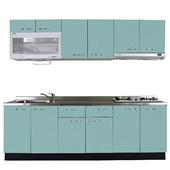 《巨蟹座》一字型廚具W210(系統板櫃體/不銹鋼檯面/結晶鋼烤門片/晶綠)