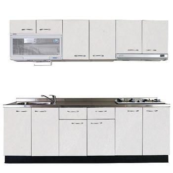 《巨蟹座》一字型廚具W240(系統板櫃體/不銹鋼檯面/美耐板門片/古典紋白)
