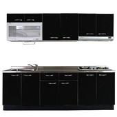 《巨蟹座》一字型廚具W240(系統板櫃體/不鏽鋼檯面/水晶板門片/黑)