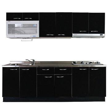 巨蟹座 一字型廚具W240(系統板櫃體/不鏽鋼檯面/水晶板門片/黑)