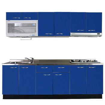巨蟹座 一字型廚具W240(系統板櫃體/不鏽鋼檯面/水晶板門片/藍)