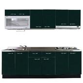 《巨蟹座》一字型廚具W240(系統板櫃體/不鏽鋼檯面/水晶板門片/綠)