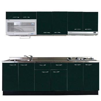 巨蟹座 一字型廚具W240(系統板櫃體/不鏽鋼檯面/水晶板門片/綠)