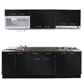 《巨蟹座》一字型廚具W270(系統板櫃體/不鏽鋼檯面/美耐板門片/古典紋黑)