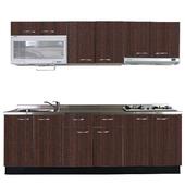 《巨蟹座》一字型廚具W270(系統板櫃體/不鏽鋼檯面/系統板門片/胡桃)