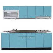《巨蟹座》一字型廚具W270(系統板櫃體/不鏽鋼檯面/水晶板門片/淺藍)