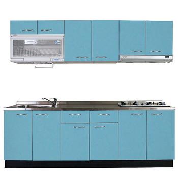 巨蟹座 一字型廚具W270(系統板櫃體/不鏽鋼檯面/水晶板門片/淺藍)