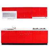 《巨蟹座》一字型廚具W300系統板櫃體/人造石檯面/水晶板門片/紅 $62599
