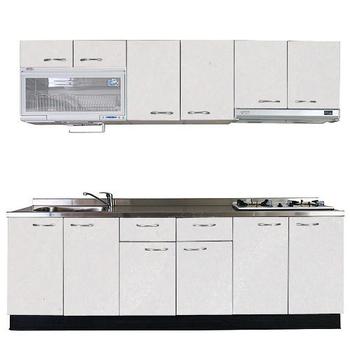 《巨蟹座》一字型廚具W300(W300/系統板櫃體/不鏽鋼檯面/美耐板門片/古典紋白)