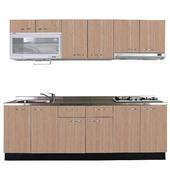 《巨蟹座》一字型廚具W300(系統板櫃體/不鏽鋼檯面/系統板門片/ 銀絲橡)
