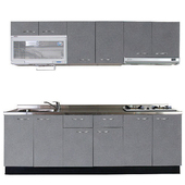 《巨蟹座》一字型廚具W300(系統板櫃體/不鏽鋼檯面/水晶板門片/灰)